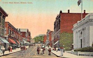 BRISTOL CONNECTICUT~LOWER MAIN STREET-HORSEBACK-STOREFRONTS~1910s POSTCARD