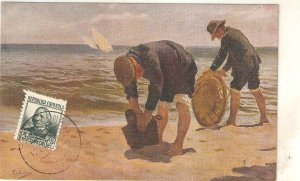 Rogelio Lopez. Marine. Marina Fine painting, vintage Spanish PC