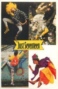 Postcard Advertising Just seventeen multi view costume dress woman hairstyle
