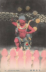 Thunder God, Nikko, Japan, Early Hand Colored Postcard, Unused