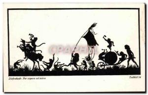 Old Postcard Fantaisie Diefenbach Per Arpera ad astra Monkeys