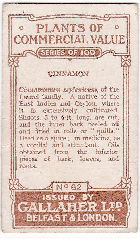 Cigarette Cards Gallaher PLANTS OF COMMERCIAL VALUE No 62 Cinnamon