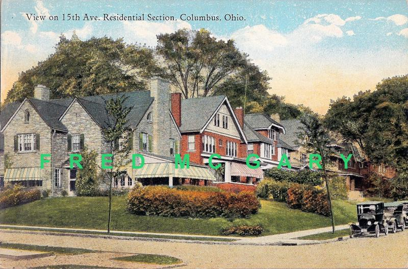 1923 Columbus Ohio PC: Residential Section of 15th Avenue - Rare!