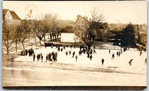c1910s RPPC Real Photo Postcard ICE SKATING SCENE Outdoors Crowded Ice Rink