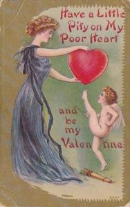 Valentine's Day Cupid & Lady In Purple Gown Dropping Heart