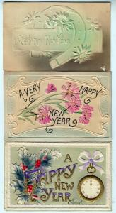 3 - New Years Cards, Heavy Embossed