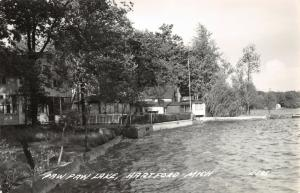 Hartford Michigan~Paw Paw Lake Home~Cabins on Waterfront~Boathouse~1940s RPPC