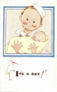 Artist Signed Mabel Lucie Attwell No. 1667, It's a Boy!, Stork
