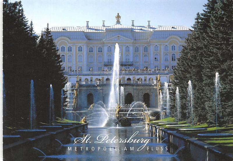 Russia St Petersburg Metropole am Fluss Brunnen Schloss Peterhof Castle Fountain