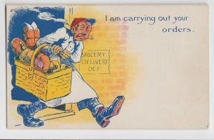 Old COMIC Postcard GROCERY DELIVERY SERVICE Basket of Food