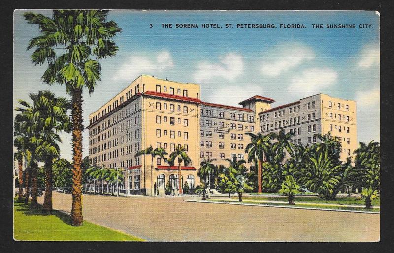 Sorena Hotel Outside View St Petersburg FL Unused c1930s