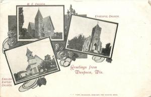 Waupaca Wisconsin~English Baptist Church~Episcopal~Methodist~Art Nouveau~1905 PC