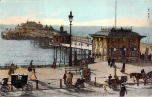 The West Pier Brighton Sussex Hartmann Unused Horse Drawn Carriages Postcard