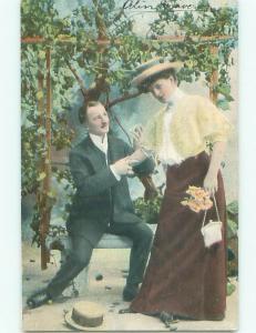 Pre-Linen Fashion WOMAN WITH HANDBAG PURSE MEETS MAN AB7677