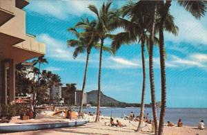 Looking Towards Diamond Head, Palm Trees, Waikiki Beach, Oahu, Hawaii, United...