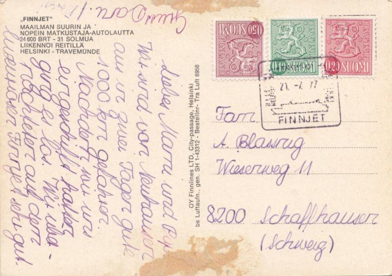 FINNJET, 1977 used Postcard