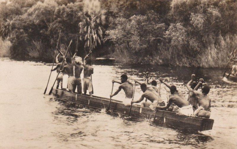 RP: A native canoe on the Zambezi River above VICTORIA FALLS , 00-10s