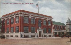 St. Joseph MI City Hall & Fire Station c1910 Postcard