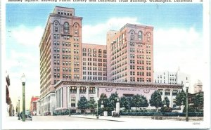Postcard Rodney Square Public Library Trust Building Delaware Vintage DE D8 VTG