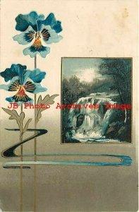 Greetings, Blue Flowers, Water Fall, Art Nouveau, Laton CA, Diamond Post Card Co