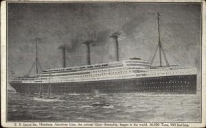 Hamburg Amerika Line Steamship SS Imperator Largest in World Postcard c1910