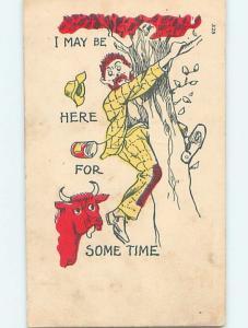 Pre-1907 comic BULL CHASES MAN UP TREE k3178