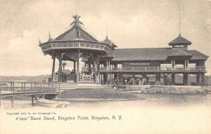 Kingston New York Point Band Stand Street View Antique Postcard K94854