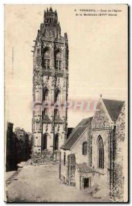 Postcard Old Verneuil Tower Church of the Madeleine