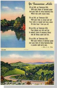 Vibrant Tennessee/TN Postcard, Ye Tennessee Hills,Near Mint!