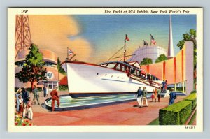 1939 New York World's Fair - Elco Yacht at RCA Exhibit - Linen Postcard