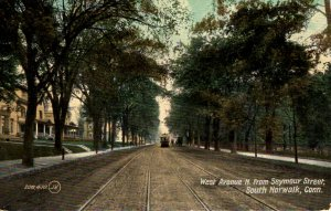 Norwalk, Connecticut - Trolley coming down West Avenue, from Seymour St. - c1908