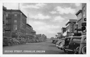 Corvallis Oregon birds eye view down Second Street antique pc Z21428