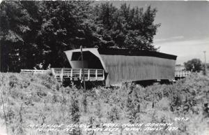 E31/ Winterset Iowa Ia Real Photo RPPC Postcard c50s Covered Bridge McBride 23