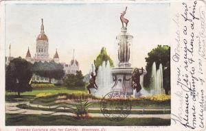 HARTFORD, Connecticut, PU-1906; Corning Fountain and the Capitol