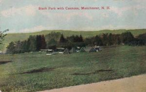 New Hampshire Manchester Stark Park With Cannons 1913