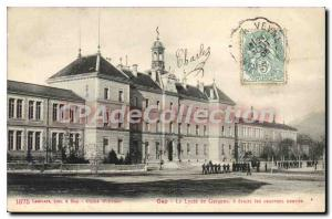 Postcard Old Gap the Lycee de Garcons right new barracks