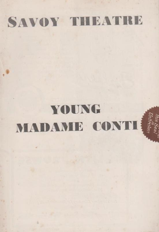 Young Madame Conti Savoy Martin Solomon London Theatre  Programme