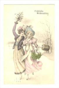 Frohliche Weihnachten, Two Victorian women with holly & tree , PU-1912