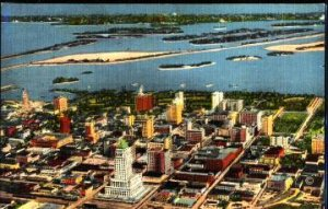MIAMI - aerial of downtown showing UNDEVELOPED islands in Biscayne Bay... 1930s
