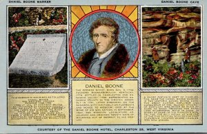 West Virginia Charleston Daniel Boone Marker and Daniel Boone Cave 1954