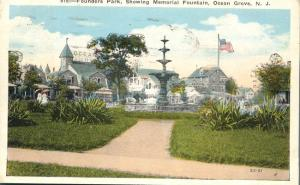 Founder's Park at Memorial Fountain - Ocean Grove NJ, New Jersey - pm 1925 - WB