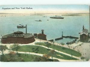 Aquarium and New York Harbor Battery Park Manhatten Immigrants Postcard # 8809