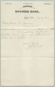 Coggon IA Savings Bank Letterhead~Ware-Tucker~Cashier Funk~1895 Bemis/Davenport