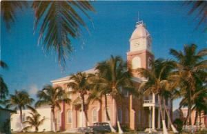 Key West Florida~Monroe County Courthouse~1950s Car~Postcard