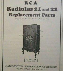 RCA Radiolas 21 and 22 Vintage Original Replacement Parts Radio Victor Ephemera