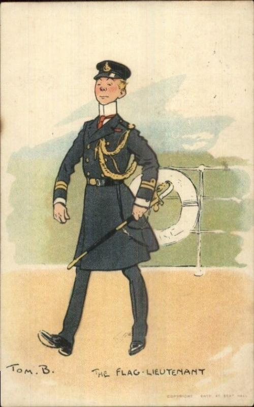 Tom B Browne Military FLAG LIEUTENANT c1910 Postcard