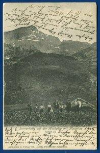 Switzerland Sennerhutte auf der Hochalpe mit alpspitze 1905 postcard