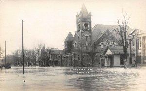 LP61 Peru Indiana Postcard RP East Main St Church Inbody Photo Prob 1913 Flood