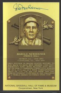 Hal Newhouser Autograph on HOF Plaque