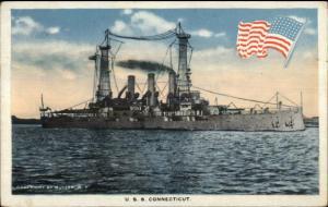 US Navy Battleship USS Connecticut American Flag Emblem 1918 Postcard
